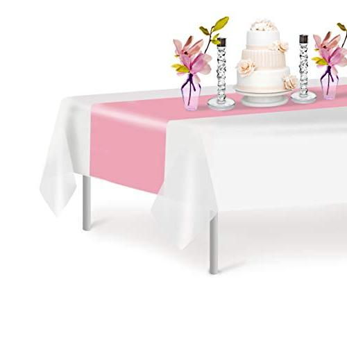 pink disposable plastic table runner