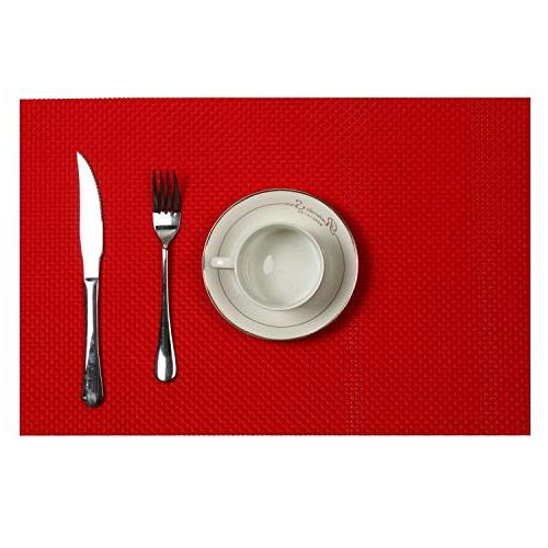 U'Artlines Compatible Runner, Woven Vinyl Insulation Placemat Table Set