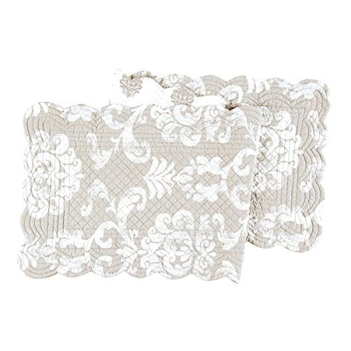 """PROVIDENCE Quilted Reversible 51"""" Table Runner by C&F - Gray"""