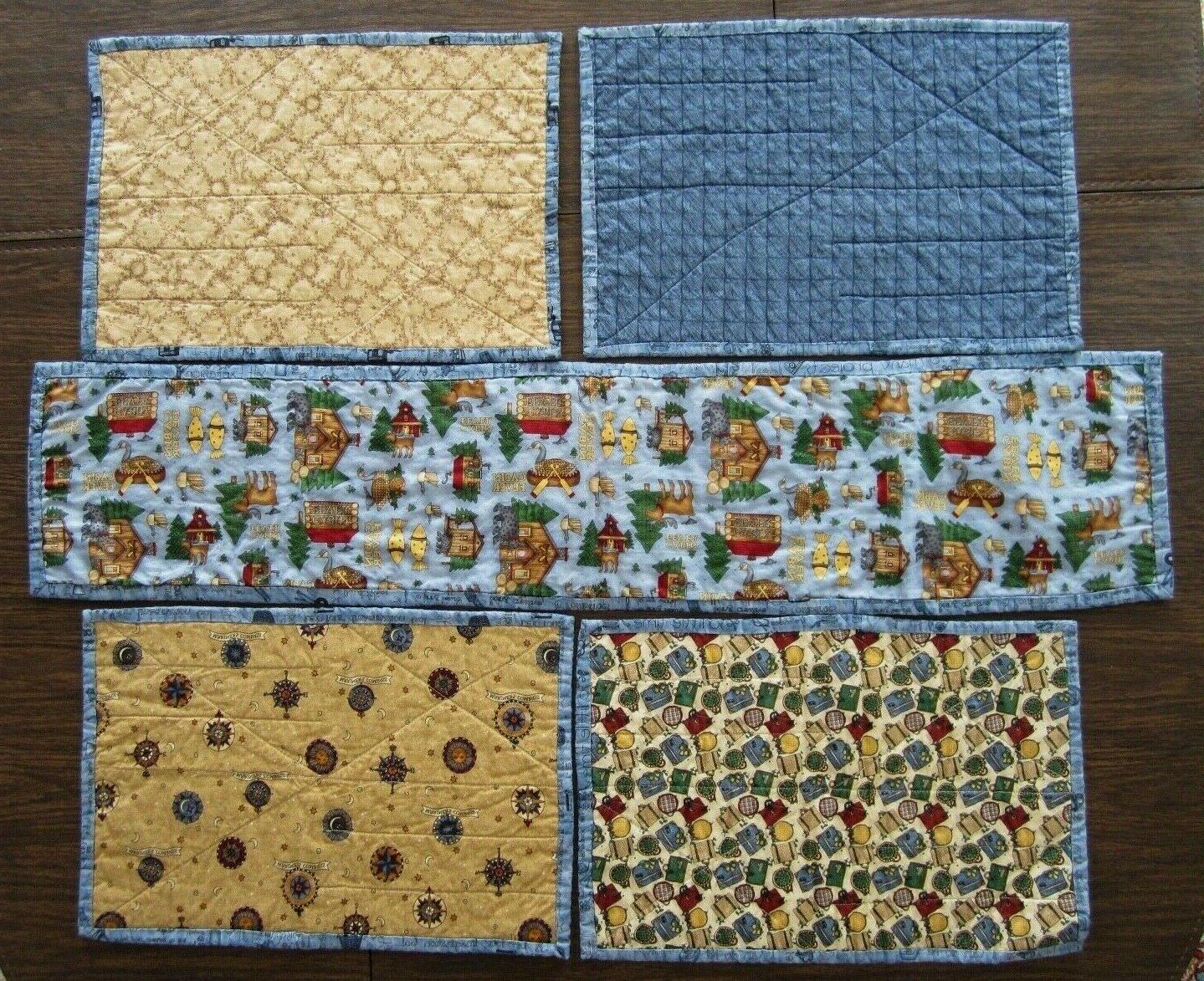 quilted table runner and four placemats reversible