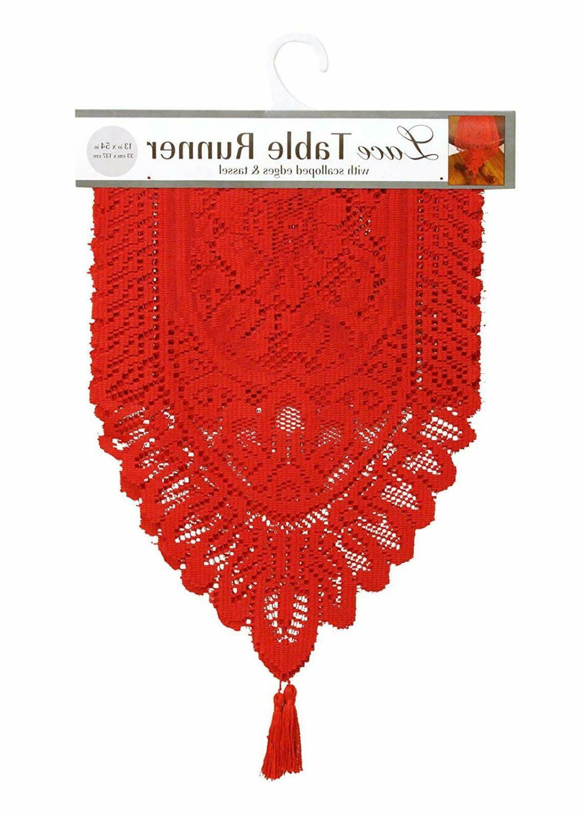 Ritz Lace Table Cloth Runner, 13 by 54-Inch - Red, Runner, 1