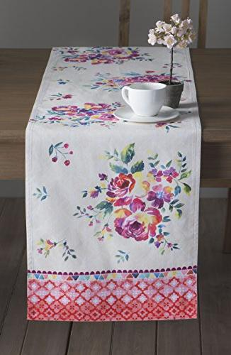 rose garden cotton table runner