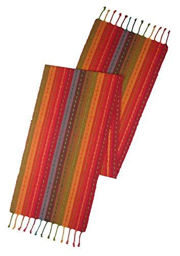 Cotton Craft - Salsa Stripe Hand Knotted Fringe Table Runner