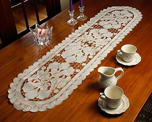 sapphire embroidered cutwork lace table