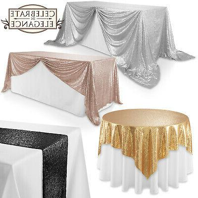 sequin sparkly table covers wedding party linens