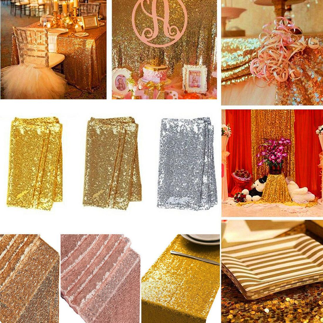 sequin table runner tablecloth gold wedding birthday