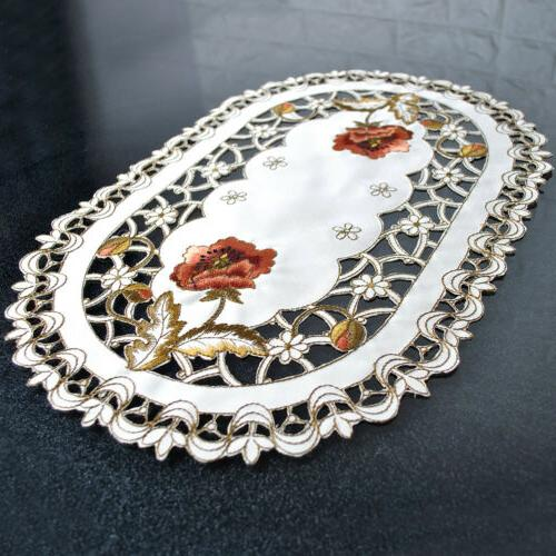 Set of Oval Floral Placemats Lace Table Mats