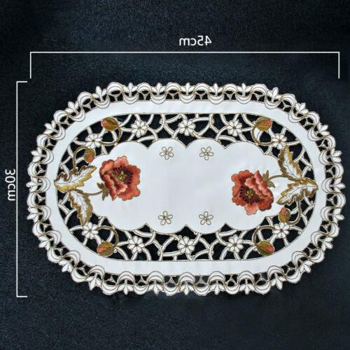 Set of 4 Floral Embroidered Lace Mats