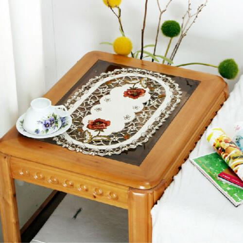 Set of 4 Floral Placemats White Lace Runner Mats