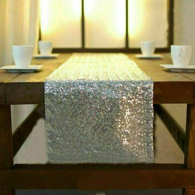 1-10Pcs Silver Sequin Table Runners Glitter Sparkly Wedding