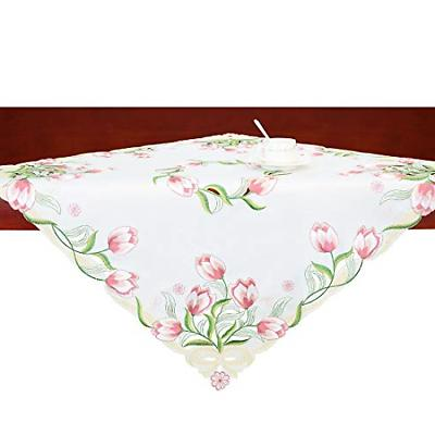 Simhomsen Small Embroidered Tulip Floral Square Tablecloth f
