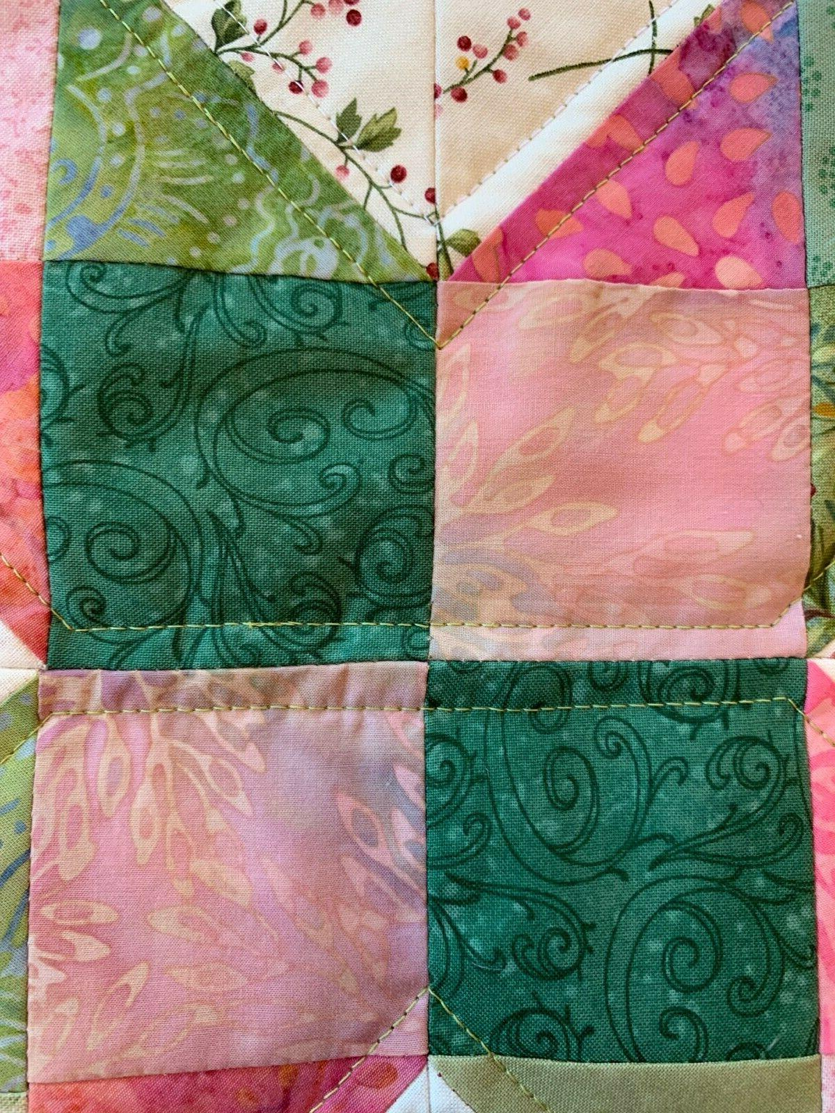 Spring Green Quilted Table Runner Floral Leaves