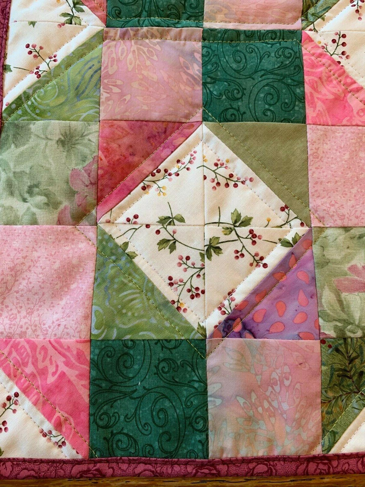 Spring Pink Quilted Table Runner Floral Leaves