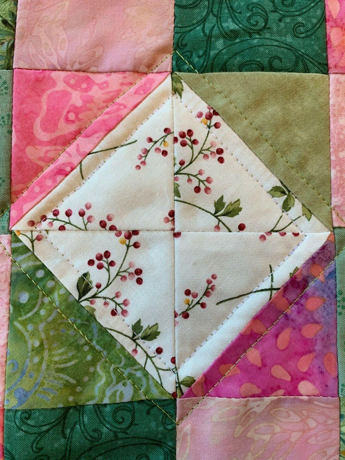 Spring Pink Green Quilted Table Runner Floral White
