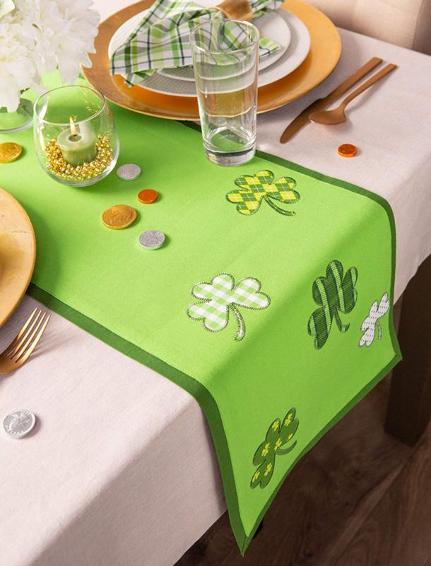 Shamrock Embroidered Table Home Holiday