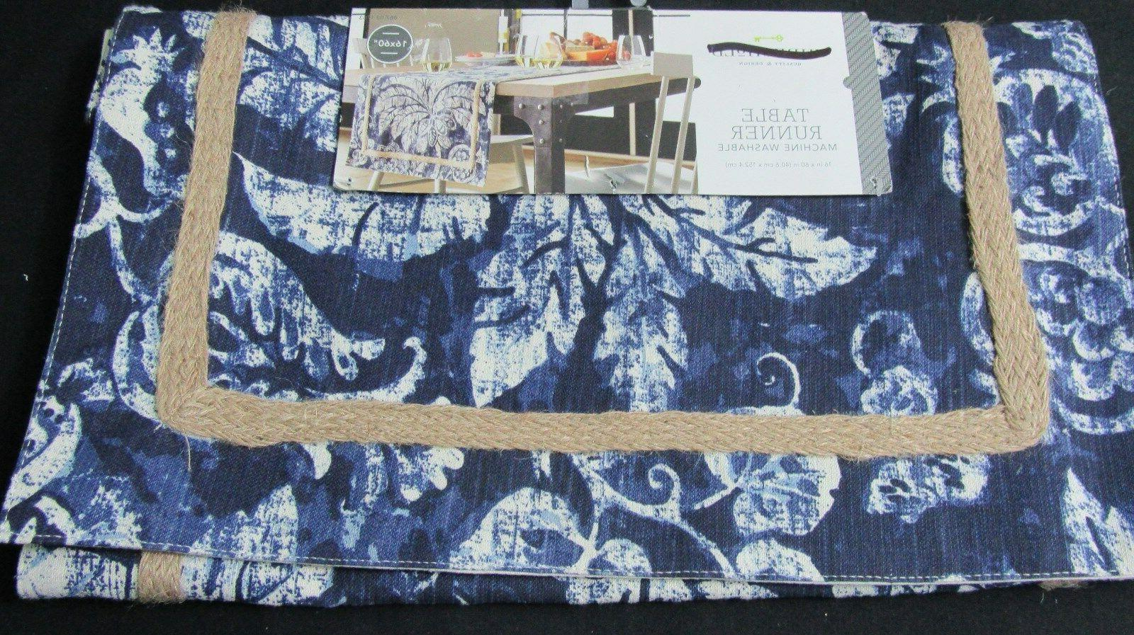table runner blue palm 16x60 new