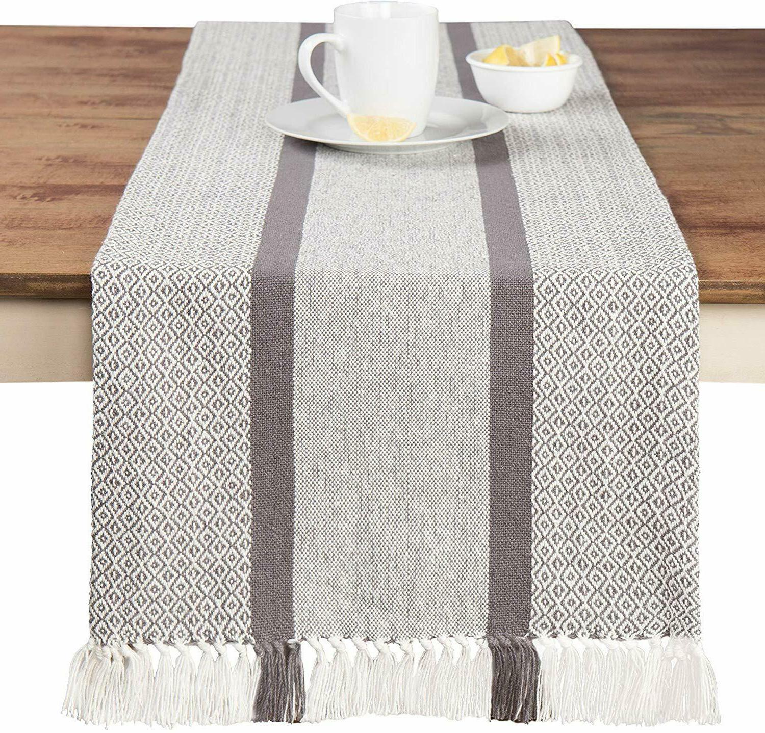 Table Runner Cloth Cover Modern Soft Woven Cotton 14 in x 72