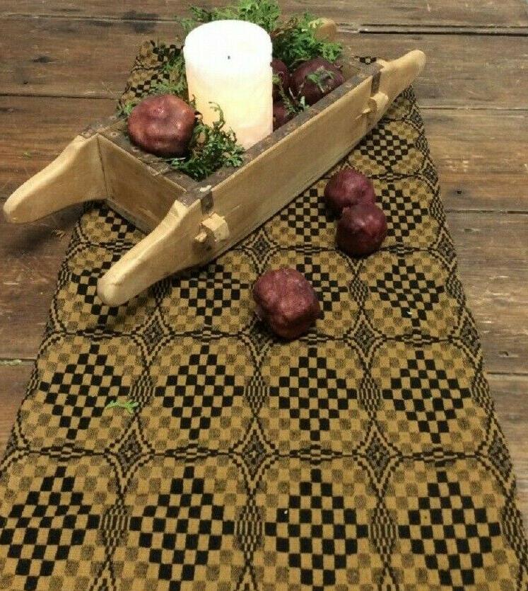"TABLE RUNNER Deep BLACK MUSTARD SHADOWBROOK Woven 32"" x 14"""