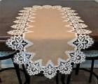 Table Runner, Doily, Mantel Scarf with Venetian Lace and Bur