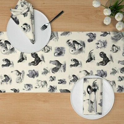 Table Animal Vintage Rustic Toile Cotton Sateen