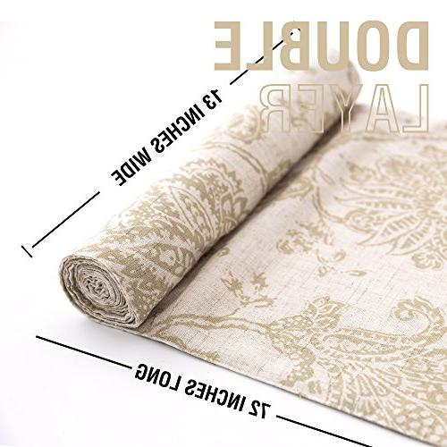 Table Runner Textured 13 Scroll Burlap Tablecovers Rustic Floral Design Sageâ¦