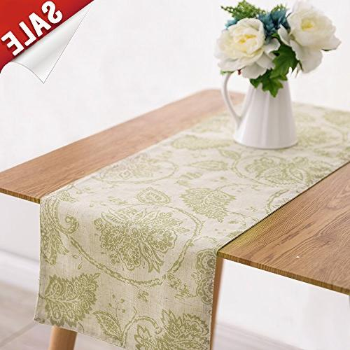 table runner linen textured scroll