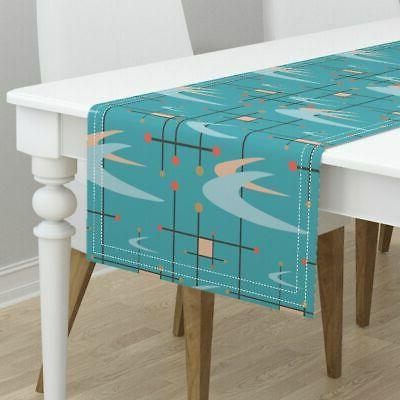 Table Runner Modern Boomerangs Turquoise Blush Pink Cotton Sateen
