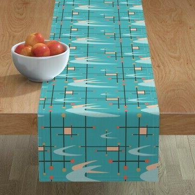 table runner mid century modern boomerangs turquoise