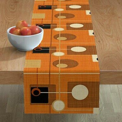 table runner mid century modern orange atomic