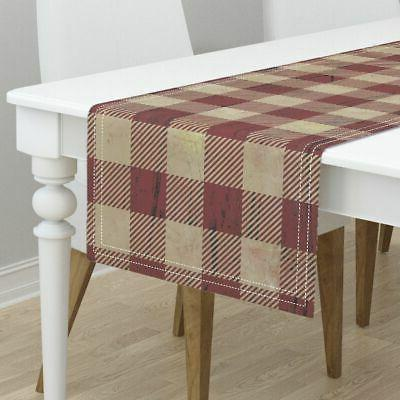 Table Red And Checked Fabric Plaid Sateen