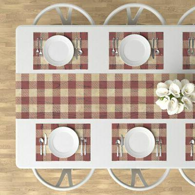 Table Runner Red And Tan Fabric Plaid Cotton Sateen