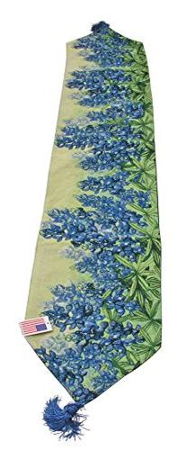 Manual Woodworker Tapestry Table Runner Blue Bonnets 13x72,