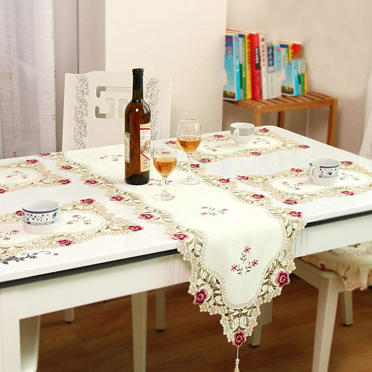 Tasseled Edge Floral Lace Embroidered Tablecloth Dining Table