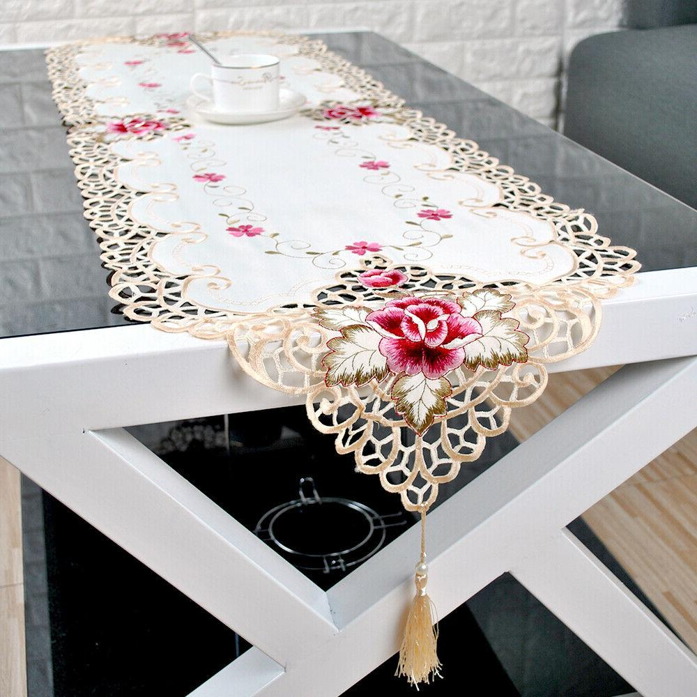 Tasseled Edge Table Runner Floral Lace Embroidered Dining Table