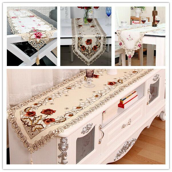 tasseled edge table runner floral lace embroidered