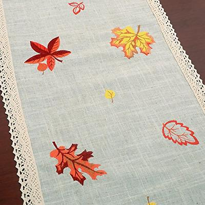 GRELUCGO Thanksgiving Holiday Table Scarf, Embroidered