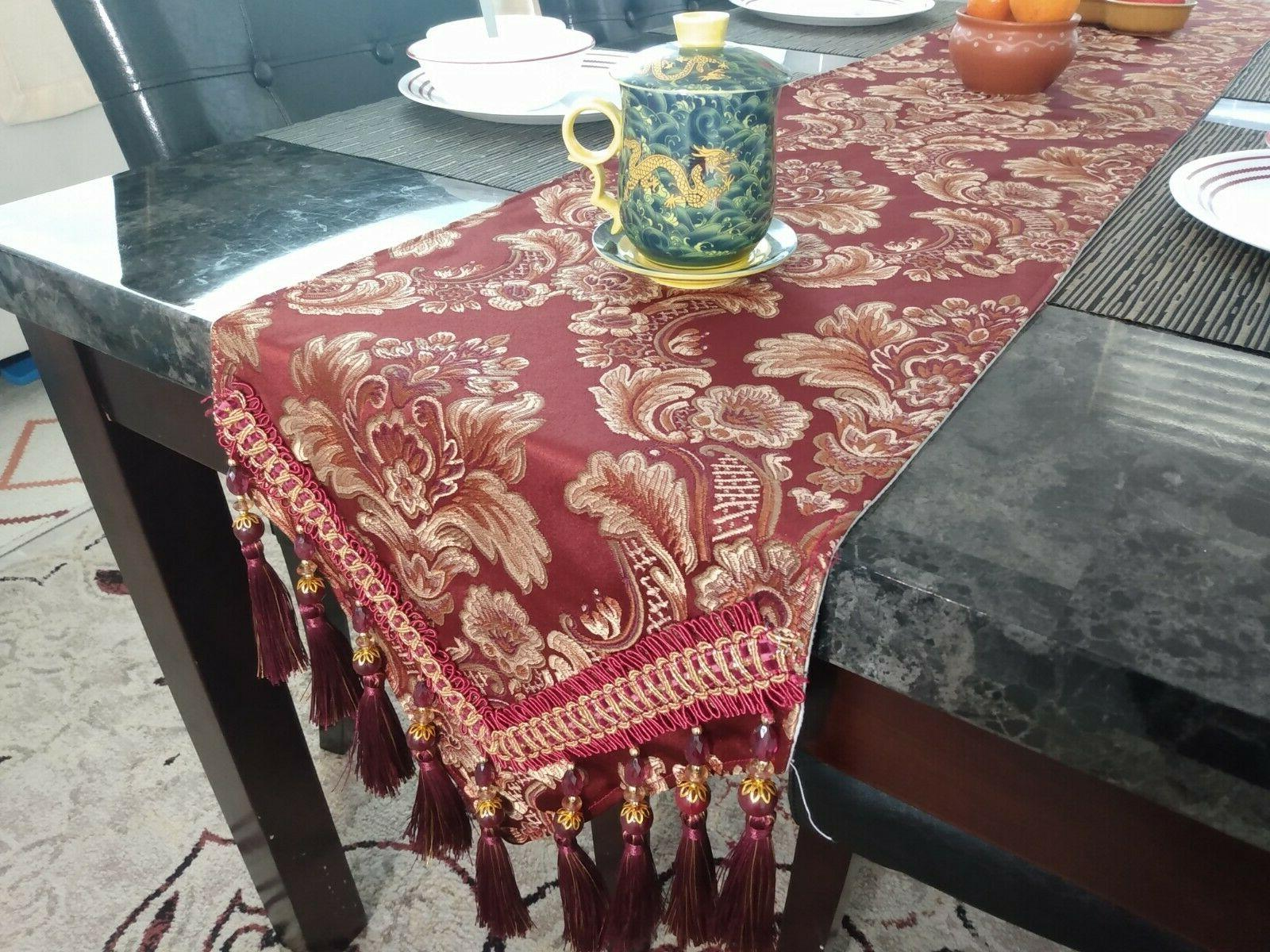 traditional floral design table runner with tassels