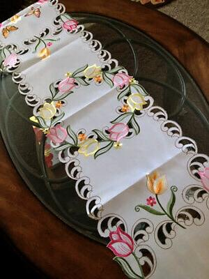 """Tulip Butterfly Runner 13"""" Embroidered Design"""