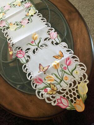 """Tulip Butterfly Runner 69""""x 13"""" Embroidered"""