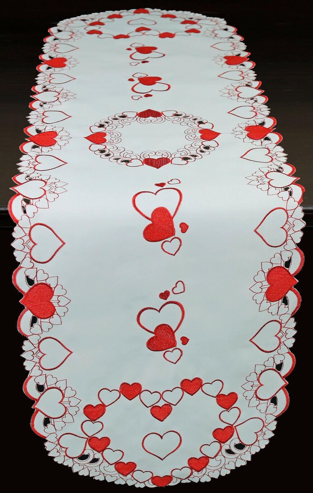 Creative Linens Red Hearts Placemats Runner