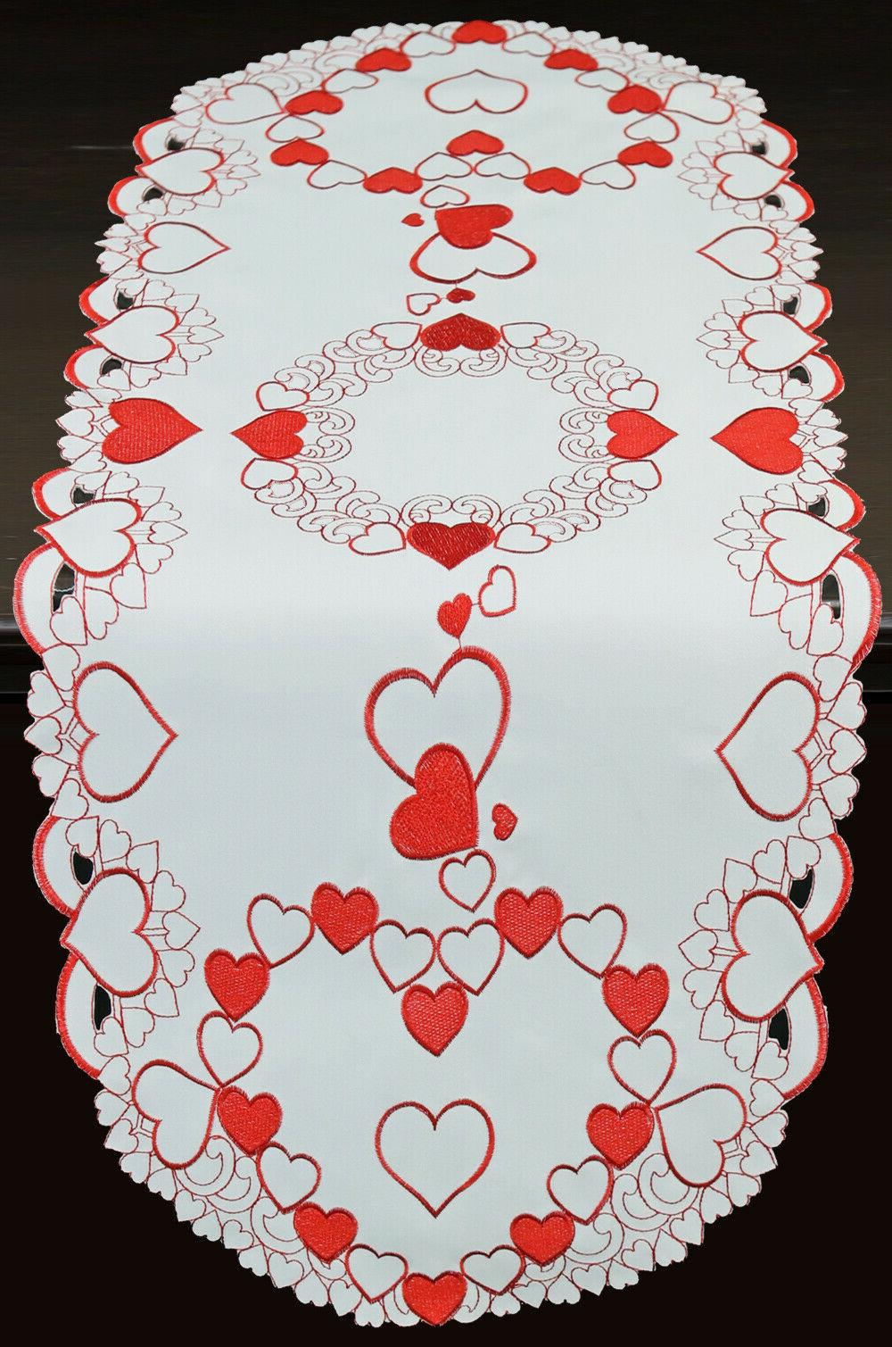 valentine red hearts placemats table cloth runner