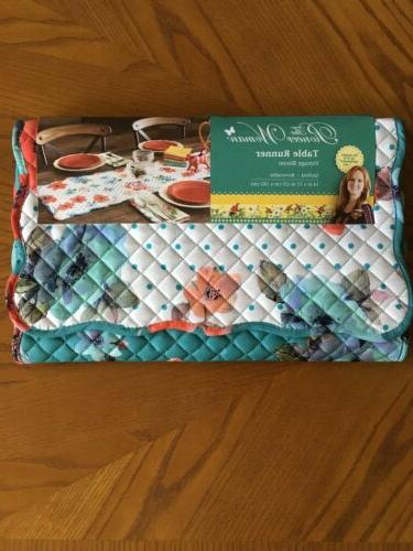 vintage bloom table runner quilted reversible 14x72