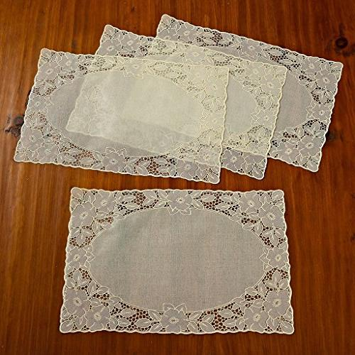 vinyl lace embossed floral oblong