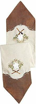 Violet Linen Decorative Artistic Burlap Embroidered Table Ru