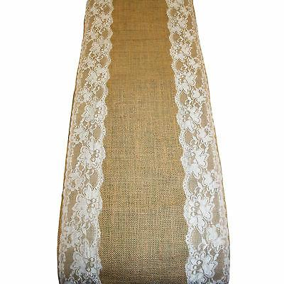 Wedding Burlap Lace Table Runner Party Home Decor x108""