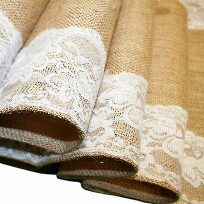 Wedding Burlap White Lace Table Party Home x108""
