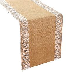 DOTHOUSE Lace Burlap Table Runners- 12 X 108 Inches Natural