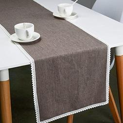 MANVEN Lace Table Runner 12x48 inch,Natural Soft Linen Fabri