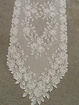 "Lace Table Runner Ivory Tea Rose design  47"" x 14"""