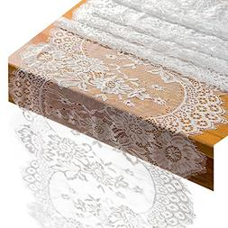 """Crisky 14"""" x 120"""" Lace Table Runners Lace Overlay with Rose"""